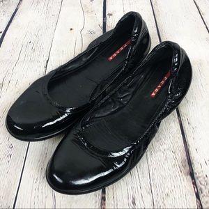 Authentic PRADA Black Patent Leather Flats